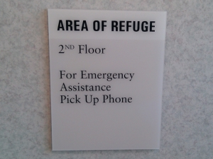 "Sign - ""Area of Refuge"""