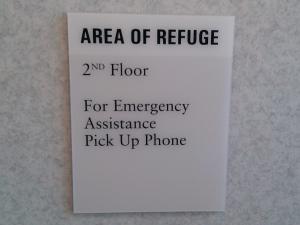 """Sign - """"Area of Refuge"""""""